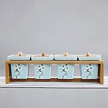 MDRW-Haushalt Küche Accessoires Keramik Seasoning Flaschen Haushalt Gewürz Kasten Drei Anzüge Gewürze Topf Küche Versorgt B