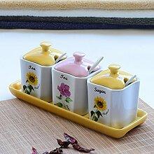 MDRW-Haushalt Küche Accessoires Keramik Topf Würzen Küche Vier Sets Mit Salz Würzen Würzen Flaschenabdeckung Heimtextilien C