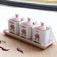 MDRW-Haushalt Küche Accessoires Keramik Topf Würzen Küche Vier Sets Mit Salz Würzen Würzen Flaschenabdeckung Home Einrichtung Ein