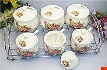 MDRW-Haushalt Küche Accessoires Küche Würzen Dosen Behälter Mit Salz Würzen Keramik Obere Und Untere Art Porzellan Topf Mit Deckel 6 Stück C