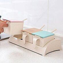 MDRW-Haushalt Küche Accessoires Kunststoff Gewürz Küche Salt Shaker Kombination Paket Haushalt Gewürzkraut Topf Deckel