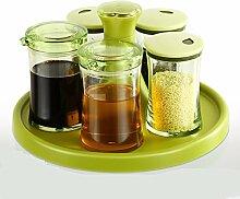 MDRW-Haushalt Küche Accessoires Würzen Würzen Von Rotary Dosen Gewürze Flasche Küche Ein Kanaldeckel Glas Salz Würzen Topf Topf Grün