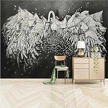 Meaosy 3D Wandbild Relief Schwan Tapete Für Bar