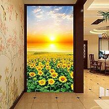 Meaosy 3D Wandbild Sonnenuntergang Feld Fototapete