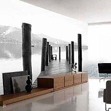Meaosy Holzbrücke Dock Schwarz-Weiß-Tapete Für