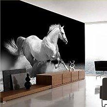 Meaosy Running Horse Schwarz-Weiß-Tier-Tapete