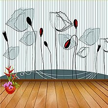 Meaosy Schwarz Weiß Mohnblume Blume 3D Tapete