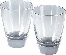 mebel GLAS 2 Gläser Trinkglas, Kunststoffbecher, Geschirr aus Melamin, weiß / silber