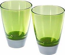 mebel GLAS 2 Gläser Trinkglas, Kunststoffbecher, Geschirr aus Melamin, grün / silber