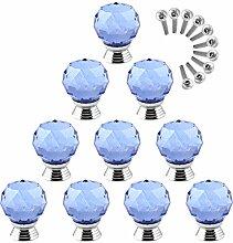 Mecotech Möbelknöpfe, 10 Stück Kristallglas
