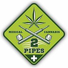 Medical Cannabis 2 Pipes Badge - Self-Adhesive