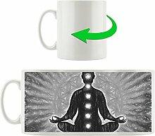 Meditation mit den 7 Chakren Kunst B&W, Motivtasse