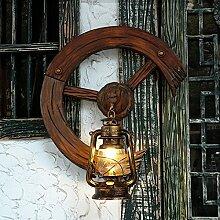 Mediterrane Bar antike Laterne Retro kreative Cafe Restaurant Dekoration Villa Rad Wand Lampe Licht 550 * 660 mm