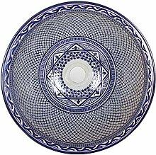 Mediterrane Keramik-Waschbecken Fes106 rund Ø 40