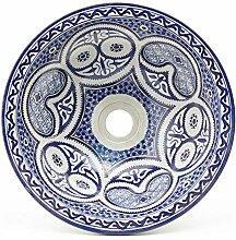 Mediterrane Keramik-Waschbecken Fes77 Ø 35 cm