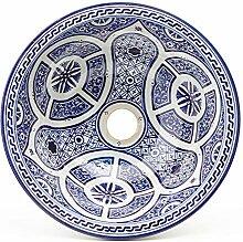 Mediterrane Keramik-Waschbecken Fes82 Ø 35 cm