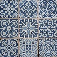 Mediterrane Patchwork Keramikfliesen Rahel Blau 33