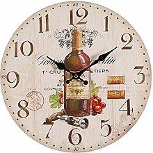 Mediterrane Wanduhr mit Rotwein Motiv, Landhaus Küchenuhr, Kneipen Uhr