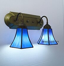 Mediterranen Stil Lampe Tiffany-Lampen modernen minimalistischen Badezimmer Lampe Nachttischlampe blau Doppelwandleuchte