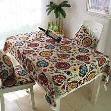 Mediterraner Stil exotisch günstig paar Leinen Tischdecke rechteckige Tischdecke Tischdecke Konferenz große Garten Tischdecke , 140*140cm