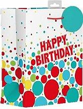 Medium Stecker Geschenk Tüte–Modern Bright Mehrfarbig Geburtstag Spots 25,4x 21,6cm