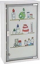Medizinschrank Arzneischrank Erste Hilfe Verbandsschrank Wandschrank Medikamentenschrank Weiß 50x30x15cm