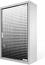 Medizinschrank groß Edelstahl abschließbar 30x45x12cm Arzneischrank Medikamentenschrank Hausapotheke Erste Hilfe Schrank Motiv Schwarz Weiß