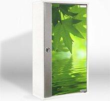 Medizinschrank mit Glastür und Motiv: Blättertraum
