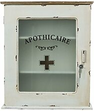 Medizinschrank mit Motiv Schriftzug Apotheke Shabby Chic Vintage abschließbar altweiß