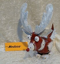 Medusa Elch klein rot/weiß/gold, Metallfigur,