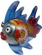 Medusa Gartenfigur Dekofigur Kugelfisch Pamela silber rot blau, Metall, Gr. L