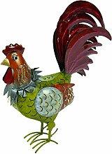 Medusa Hahn ''Erich'' | Größe S 39x14x34 cm | leuchtend grün-orange-rot | mit Flügelklappe für Teelicht oder Lichterkette