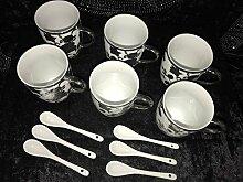 Medusa Kaffee Cappuccino Becher mit Löffel für 6 Personen Tassen Geschirr 12 Tlg (Silber 1)
