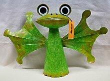 Medusa Windspiel Frosch, Metall-Gartenstecker, im Wind drehend, grün, WD162