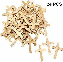 meekoo 24 Stücke Natürliche Holz Kreuz Holzkreuz