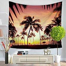 Meer Himmel Sonnenuntergang Palmen Wandteppich