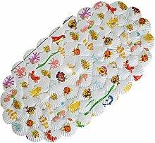 Meer Ovale Duschmatte Badematte,starke rutschfeste mit die Sicherheitssaugnäpfe Muschel Cartoon Muster ideal Geschenk für die Kinder waschbar in Waschmaschine 66x36.3 CM
