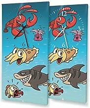 Meerestiere - Lautlose Wanduhr mit Fotodruck auf Leinwand Keilrahmen | geräuschlos kein Ticken Fotouhr Bilderuhr Motivuhr Küchenuhr modern hochwertig Quarz | Variante:30 cm x 60 cm mit schwarzen Zeigern - GERÄUSCHLOS