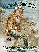 Meerjungfrau Bad Salze. Alt Vintage Werbetafel für Küche, Badezimmer, Laden, Heim, Cafe, Pub oder Restaurant Metall/Stahl Wandschild - 30 x 40 cm