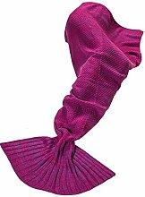 Meerjungfrau Kuscheldecke Wolldecke Flossen-Decke Wohndecke Tagesdecke Strickdecke Schlafdecke Schmusedecke Pink Ro