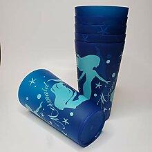 Meerjungfrau-Partybecher, groß, Kunststoff, Blau,