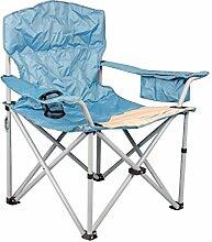 Meerweh Campingstuhl Faltstuhl mit Getränkehalter und Kühlfach Relaxstuhl Anglerstuhl beige/blau