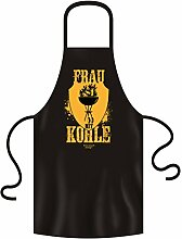 Mega lustige Fun-Grill-Schürze für Menschen mit Humor als Top Geschenkeidee Farbe: Schwarz - Motiv: Frau mit Kohle Farbe: Schwarz