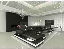 Mega Wohnlandschaft Messana U-Form schwarz - weiss Eckcouch Sofa mit Beleuchtung
