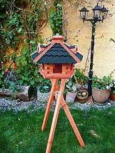 MEGA-XXL Gartendeko aus Holz mit BLAU mit Ständer BG70blMS, Futterhaus