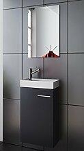 Megasparmarkt Waschplatz | Badmöbel Set | Waschtisch | Keramik Waschbecken | Spiegel | Gäste WC | Bologna | anthrazit-schwarz