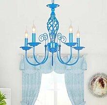 MEHE HOME- Blau minimalistische moderne mediterrane schmiedeeiserne Kronleuchter Wohnzimmer Restaurant Schlafzimmer Lampe