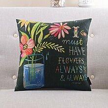Mehr Farben Amerikanischen Landhausstil Kissen PP Baumwoll-Kissen Sofa-Bett halten Baumwolle Kissenbezug-D 60x60cm(24x24inch)VersionA