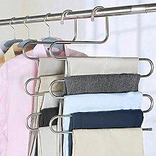 Mehrfach Kleiderbügel aus Edelstahl Platzsparend Hosenbügel für 5 Hosen (3 Stück)