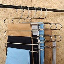 Mehrfach Kleiderbügel aus Edelstahl Platzsparend Hosenbügel für 5 Hosen (5 Stück)